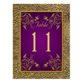 Púrpura real postal floral del número de la tabla