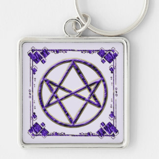 Púrpura real Unicursal Llavero Cuadrado Plateado