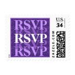 Púrpura real y blanco RSVP W11 que se casa moderno Sellos