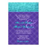 Púrpura real y damasco azul de la aguamarina que invitación 12,7 x 17,8 cm