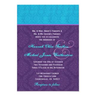 """Púrpura real y damasco azul de la aguamarina que invitación 5"""" x 7"""""""