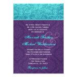 Púrpura real y el casarse azul del damasco de la a comunicado personal