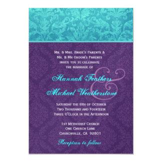Púrpura real y el casarse azul del damasco de la invitación 12,7 x 17,8 cm