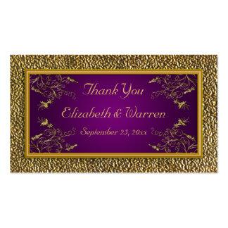 Púrpura real y etiqueta floral del favor del boda plantillas de tarjetas personales