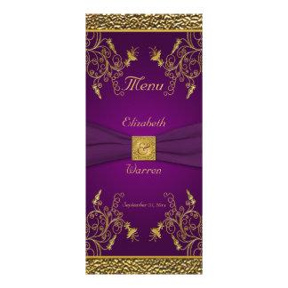 Púrpura real y tarjeta floral del menú del oro lona publicitaria