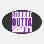Púrpura recta de Outta Sacramento Pegatina Ovalada