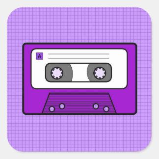 "Púrpura retra 80"" s Mixtape Pegatina Cuadrada"