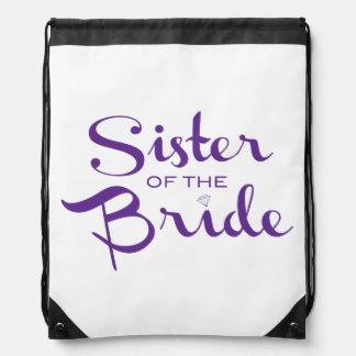 Púrpura retra de la escritura de la hermana mochilas