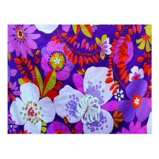 Púrpura retra tarjetas postales