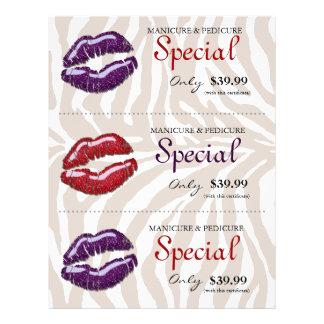 """Púrpura roja brillante de la cebra de los labios d folleto 8.5"""" x 11"""""""