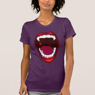 Púrpura roja de los dientes del demonio de la camisetas