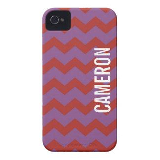 Púrpura roja del modelo gráfico del galón su Case-Mate iPhone 4 cobertura