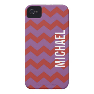 Púrpura roja del modelo gráfico del galón su Case-Mate iPhone 4 protector
