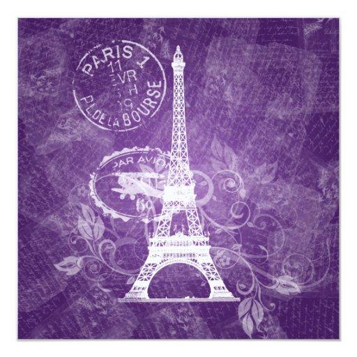 """Púrpura romántica de París de la ducha nupcial Invitación 5.25"""" X 5.25"""""""