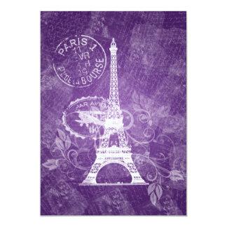 """Púrpura romántica de París del boda elegante Invitación 5"""" X 7"""""""