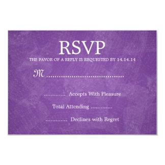 "Púrpura romántica elegante de RSVP que se casa Invitación 3.5"" X 5"""
