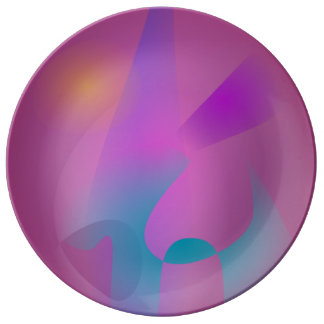 Púrpura rosada abstracta nebulosa plato de cerámica