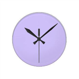 Púrpura rosada artística llana: Añada el texto o l Reloj Redondo Mediano