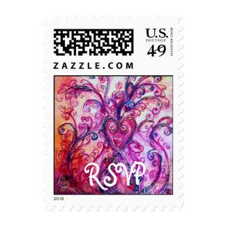 Púrpura rosada brillante de RSVP de los FLOURISHES Sellos Postales