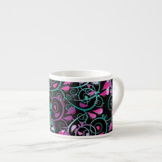Púrpura rosada del trullo de los remolinos florale taza espresso