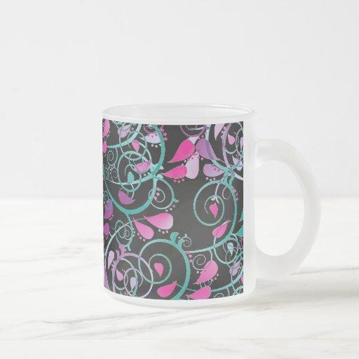 Púrpura rosada del trullo de los remolinos taza de café esmerilada