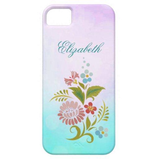 púrpura rosada floral azul del trullo del iPhone 5 iPhone 5 Case-Mate Protector