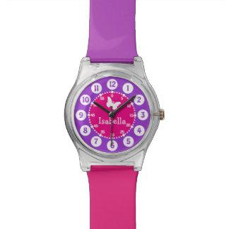 Púrpura rosada nombrada numerada reloj