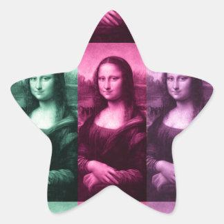 Púrpura rosada verde de Mona Lisa Pegatina En Forma De Estrella