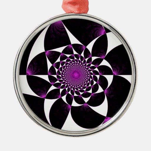 Púrpura rota rota del negro del caleidoscopio adorno redondo plateado
