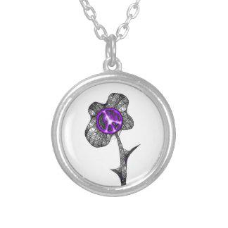 Púrpura salvaje de la flor de la paz colgante redondo