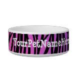 Púrpura salvaje personalizada del estampado de zeb tazones para gatos