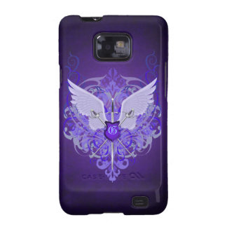 Púrpura Samsung de las espadas y de las alas del m Galaxy SII Funda