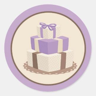 Púrpura/sello del sobre del pastel de bodas de pegatina redonda