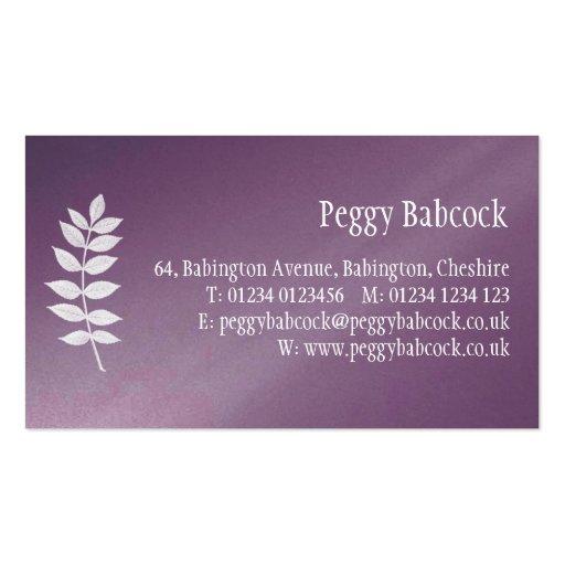 Púrpura simple de la berenjena con la tarjeta de tarjetas de visita