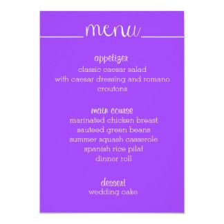 "Púrpura simple de la tarjeta del menú de la invitación 5"" x 7"""