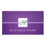 Púrpura simple del monograma del modelo de lunar tarjeta de negocio