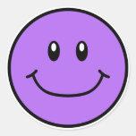 Púrpura sonriente 0001 de los pegatinas de la cara etiquetas redondas