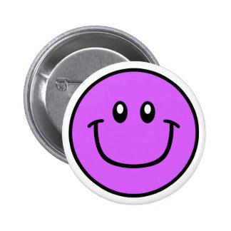 Púrpura sonriente 0003 del botón de la cara pin redondo de 2 pulgadas