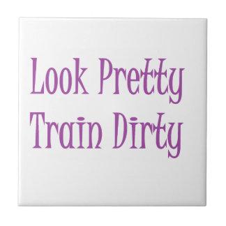 Púrpura sucia del tren azulejo cuadrado pequeño