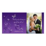 Púrpura, tarjeta floral de la foto del boda de la  tarjeta con foto personalizada