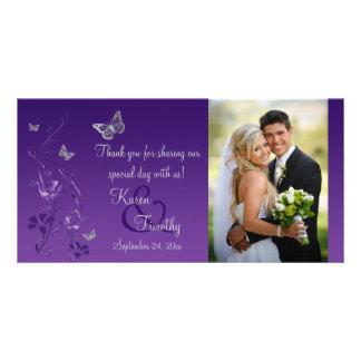 Púrpura, tarjeta floral de la foto del boda de la tarjetas personales con fotos