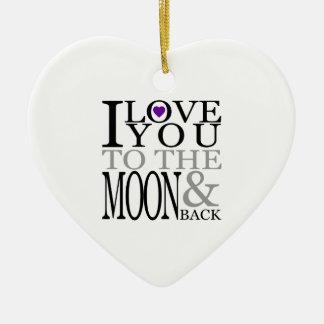 Púrpura te amo a la luna y a la parte posterior adorno navideño de cerámica en forma de corazón