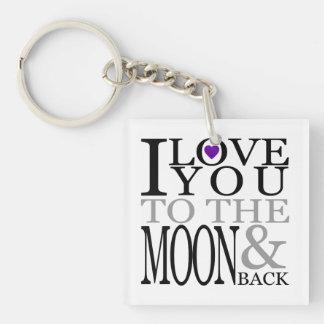 Púrpura te amo a la luna y a la parte posterior llavero