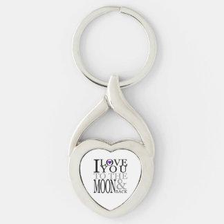 Púrpura te amo a la luna y a la parte posterior llavero plateado en forma de corazón
