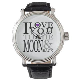 Púrpura te amo a la luna y a la parte posterior relojes de pulsera