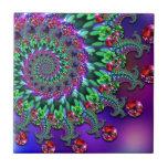 Púrpura Terquoise del fractal de Bokeh Azulejos Cerámicos