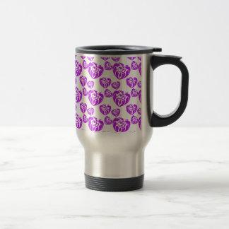 Púrpura tribal del corazón 3 tazas