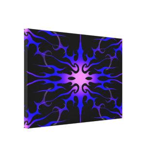 Púrpura tribal y azul del tatuaje de las llamas impresiones en lona