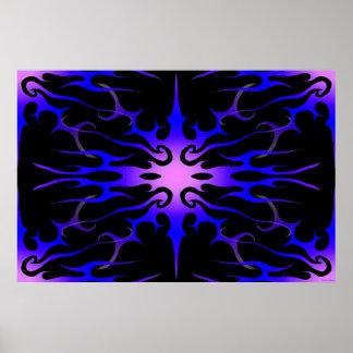 Púrpura tribal y azul del tatuaje de las llamas impresiones