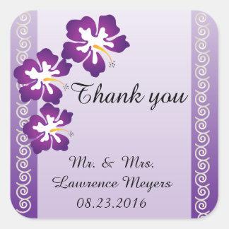 Púrpura tropical del tema el | del hibisco pegatina cuadrada